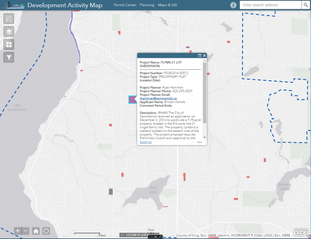 Sammamish Development Activity Map built by FLO Analytics