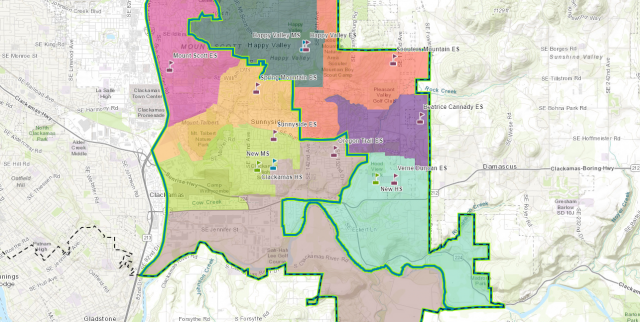 Web map showcasing North Clackamas School District's new boundaries