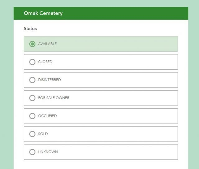 City of Omak Cemetery Management Survey 123 Form