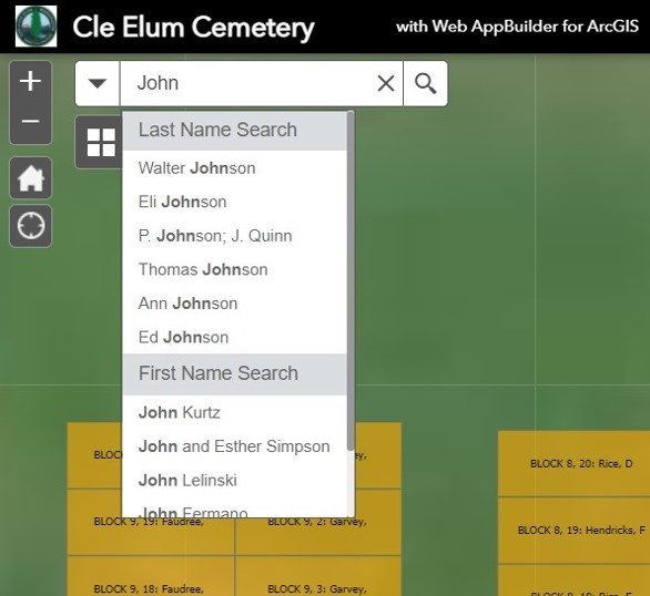 Search field in ArcGIS shows names of people buried in the Cle Elum Cemetery