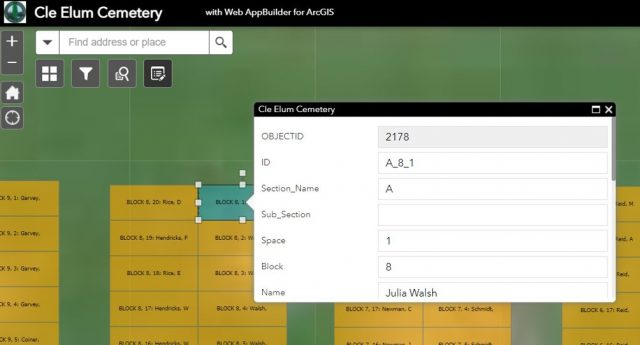 A table showing different fields to populate data into a grave site in ArcGIS.