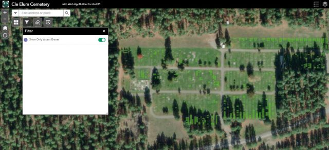 A widget in ArcGIS that shows different ways to filter cemetery data.