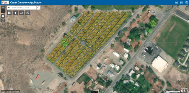 Omak cemetery data viewed in ArcGIS.